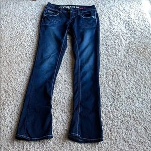 Jeans with boot cut, mid-rise, soft fabric stretch
